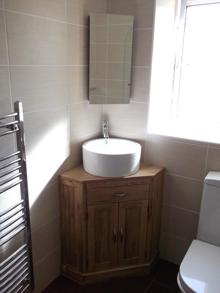 Bathroom Corner Basin : ... ,Full bathroom refit.wooden,corner vanity unit, bowl sghaped basin
