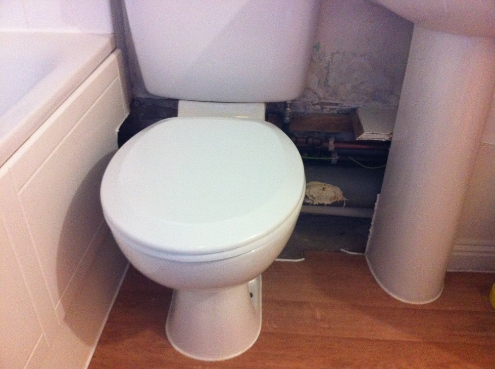 Box Work Around Pipes Under Toilet Sink Approx 70cm