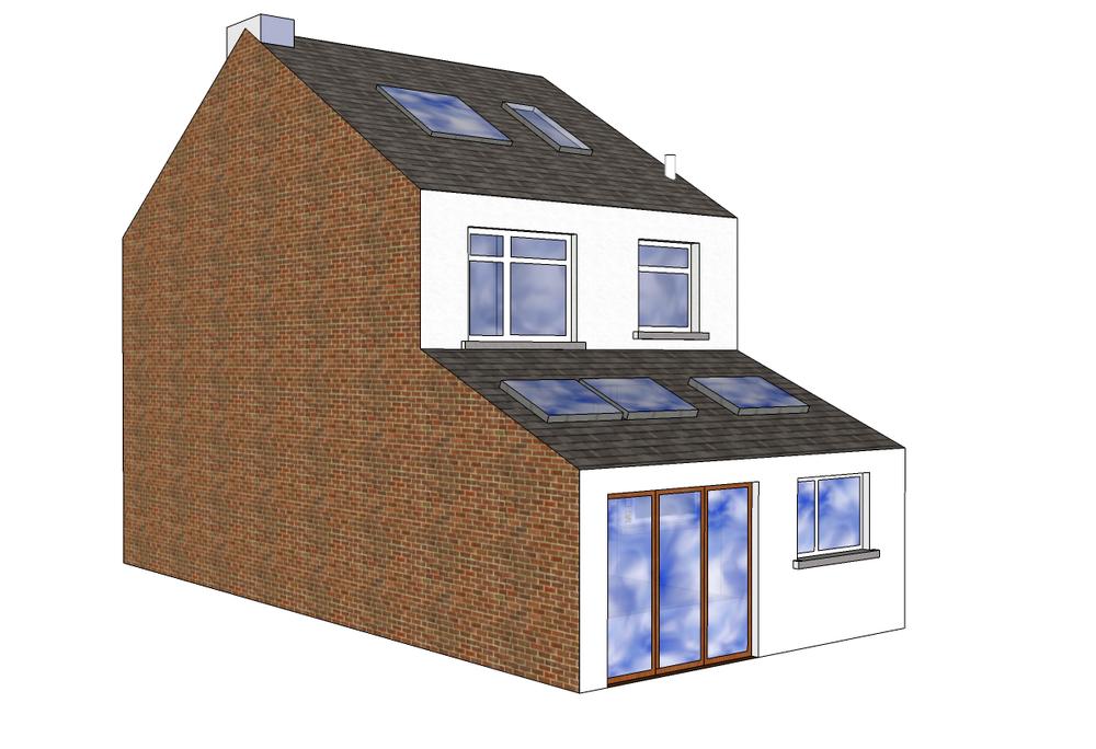 Single Storey Mid Terrace Extension 5m40 W X 3m D