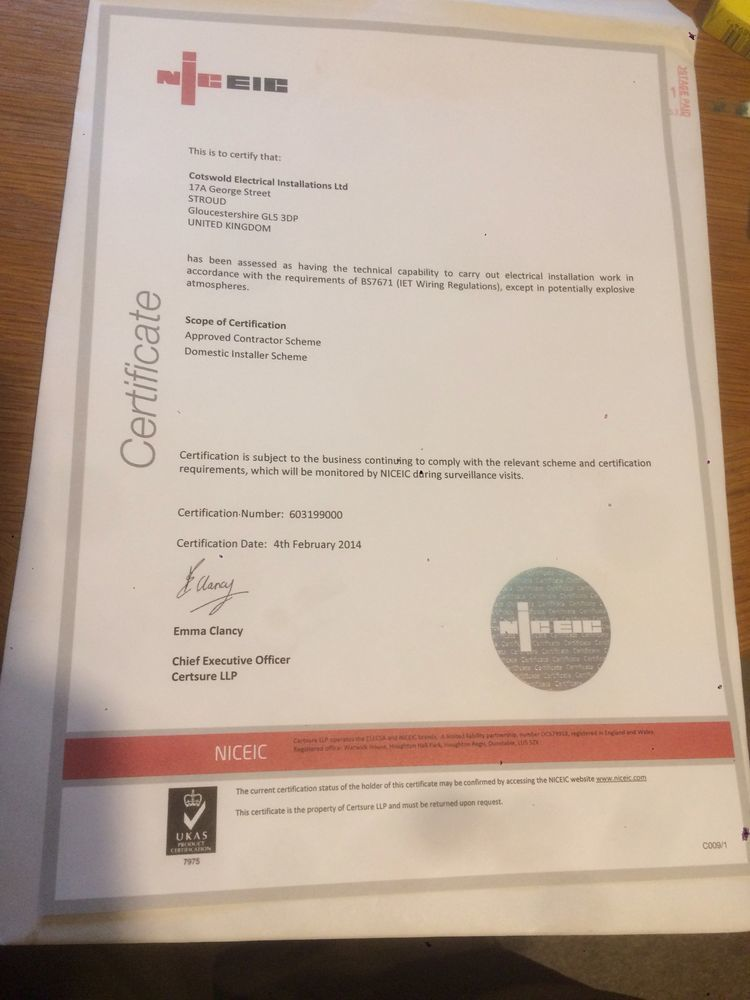 Cotswold Electrical Installations Ltd 100 Feedback